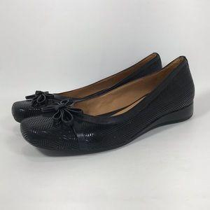 Nurture Marcia Black Herringbone Low Wedge Shoes